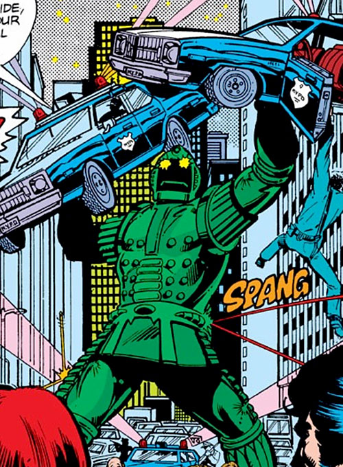 Titanium Man (Iron Man classic enemy) (Marvel Comics) lifting a pair of police cruisers