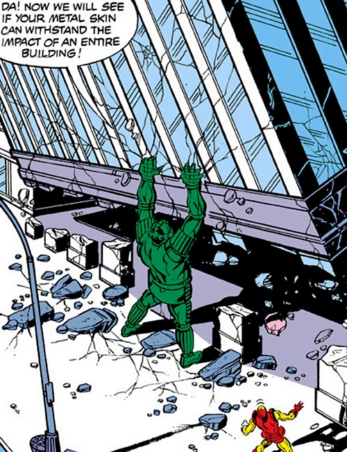 Titanium Man (Iron Man classic enemy) (Marvel Comics) destroying a large building
