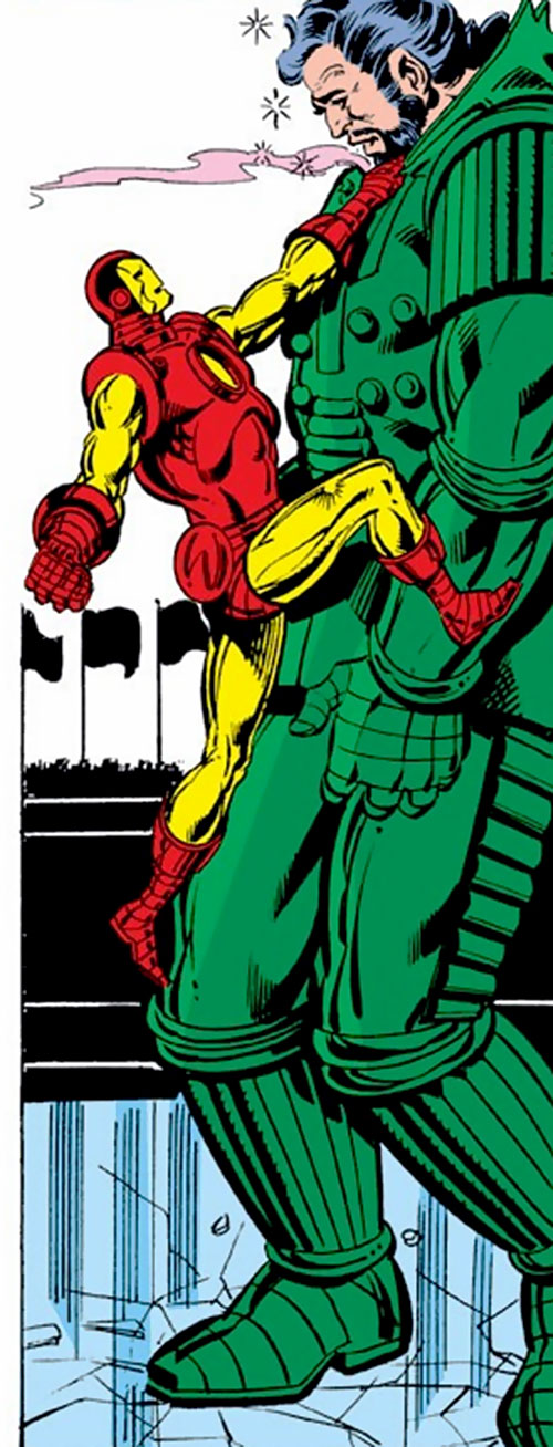 Titanium Man (Iron Man classic enemy) (Marvel Comics) stunned and being climbed on by Iron Man