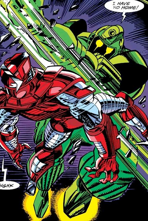 Titanium Man (Iron Man classic enemy) (Marvel Comics) punching the Crimson Dynamo