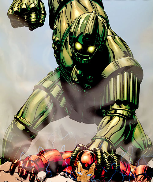 Titanium Man (Iron Man classic enemy) (Marvel Comics) about to punch through a downed Iron Man