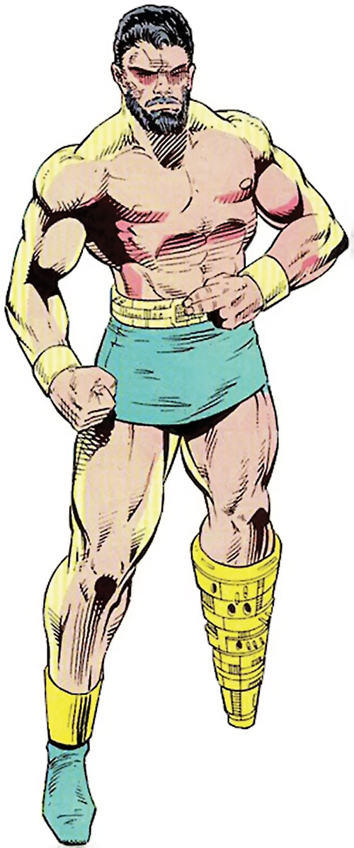 Titanium Man (Iron Man classic enemy) (Marvel Comics) in shorts with a leg prosthesis
