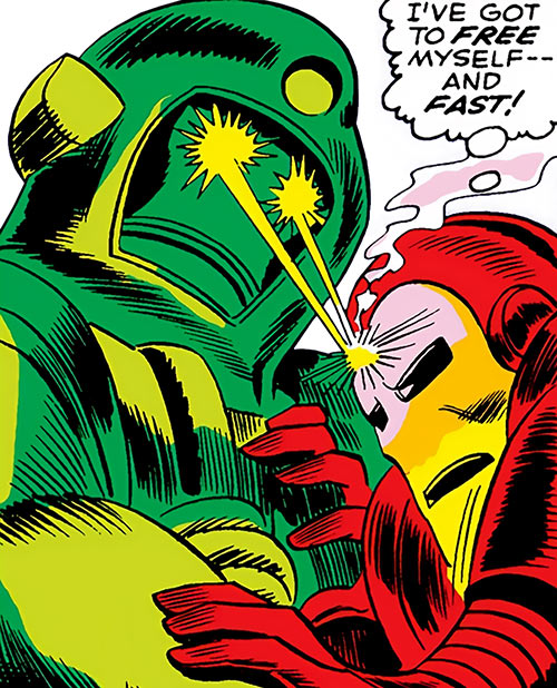 Titanium Man has Iron Man in a bear hug