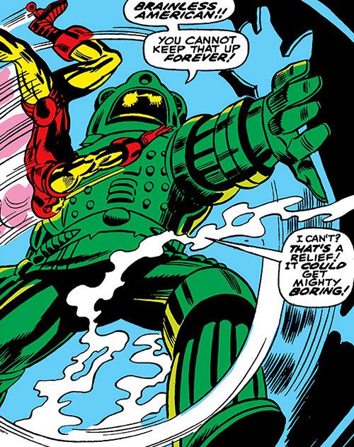 Titanium Man vs. Iron Man in a tube