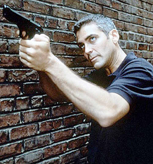 Tom Devoe (George Clooney in The Peacemaker) aiming his pistol