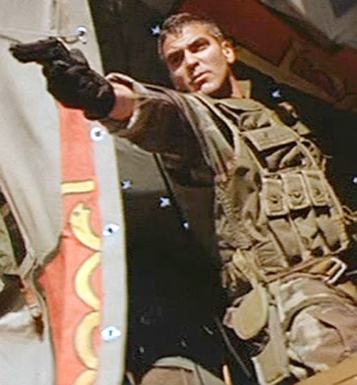 Tom Devoe (George Clooney in The Peacemaker) shooting his pistol