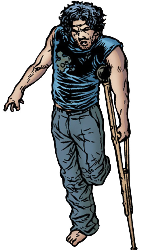 Tom Noir (Black Summer comics) dirty and using a crutch