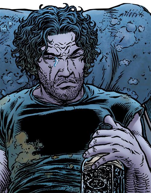 Tom Noir (Black Summer comics) drunk and crying