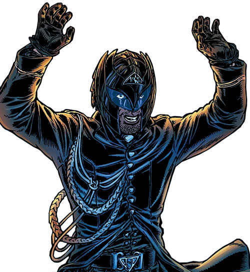 Tom Noir (Black Summer comics) in costume with arms raised