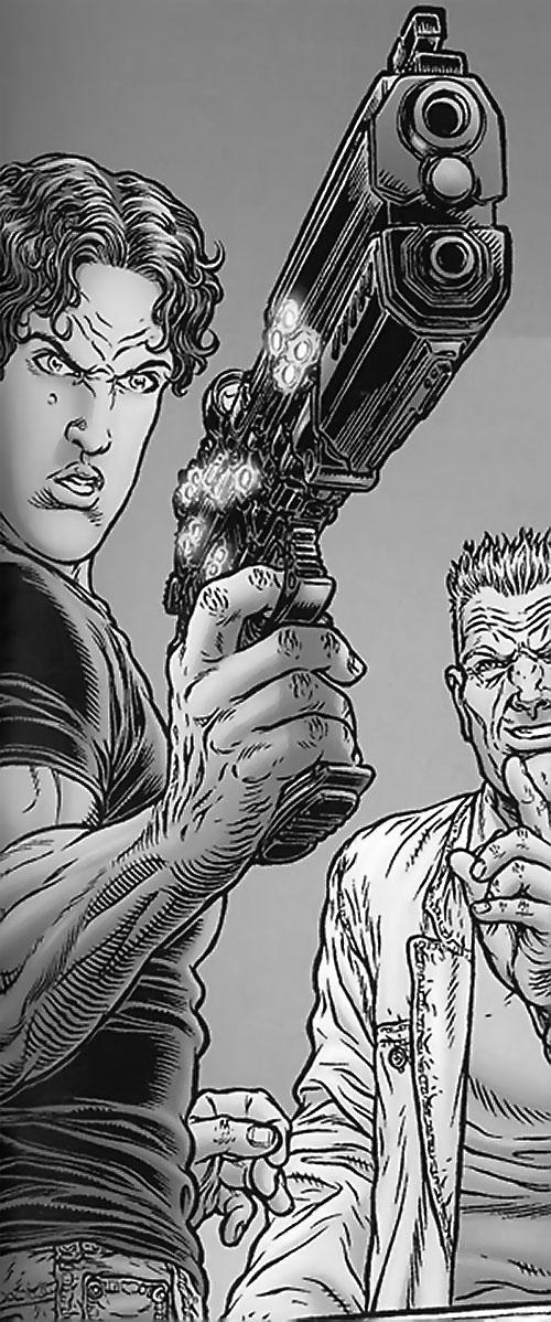 Tom Noir (Black Summer comics) discovering his special pistol (flashback)