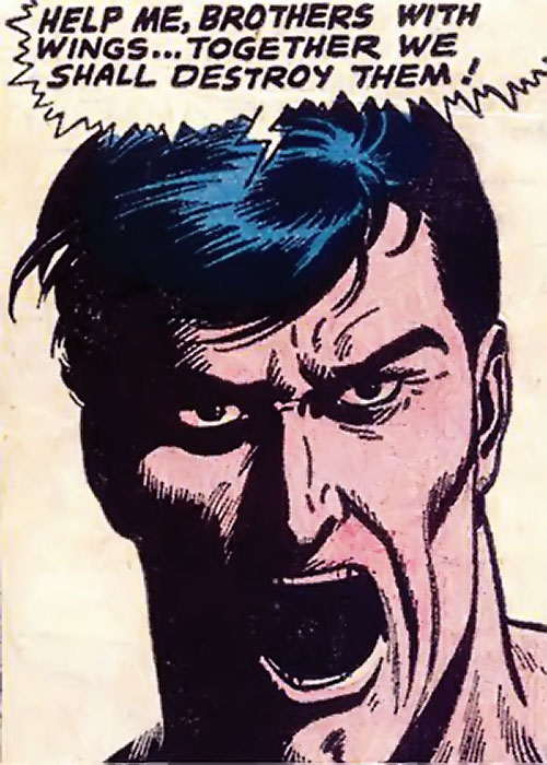 Brother-with-no-wings (War that Time Forgot) (DC Comics) shouting face closeup