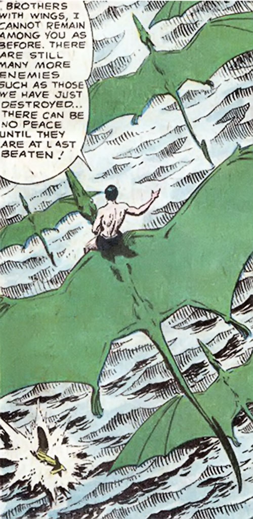 Brother-with-no-wings (War that Time Forgot) (DC Comics) and pterosaurs flying in formation