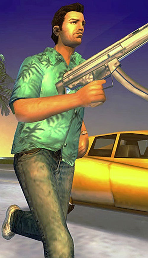 Tommy Vercetti (GTA Vice City) running with a H&K MP5