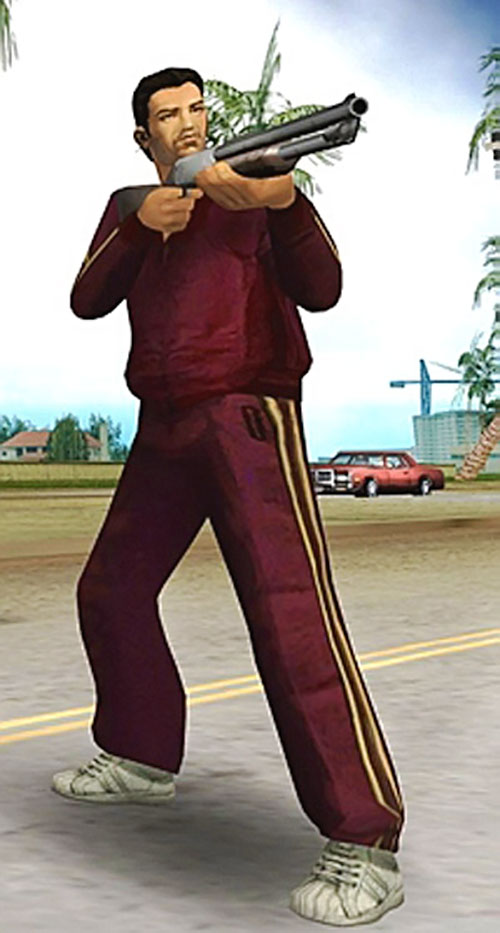 Tommy Vercetti (GTA Vice City) with a dark red track suit and a pump gun