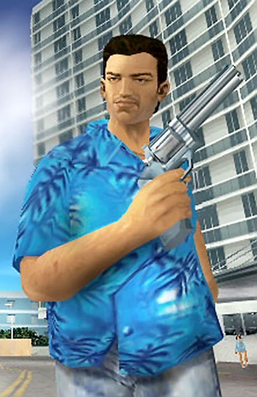 Tommy Vercetti (GTA Vice City) with a huge revolver