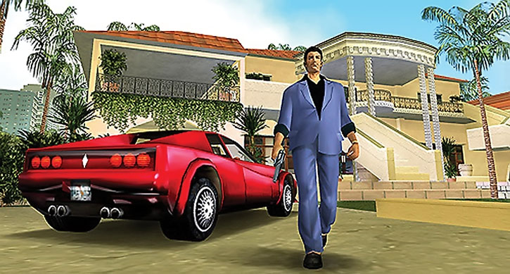 Tommy Vercetti with red sports car and opulent villa