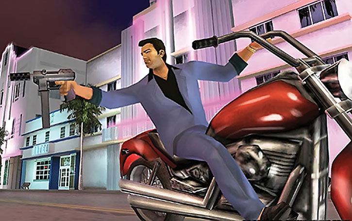 Tommy Vercetti firing a Tec-9 from a motorbike