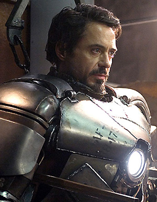 Iron Man (Robert Downey Jr. in the first Marvel movie) in his earliest armor
