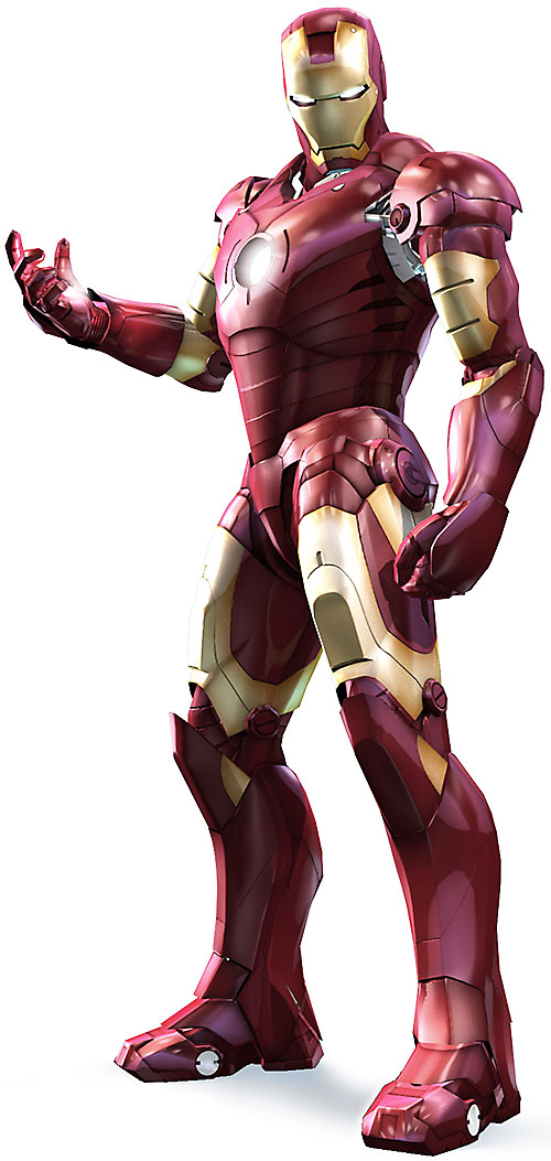 Iron Man (Robert Downey Jr. in the first Marvel movie) armor on a white background