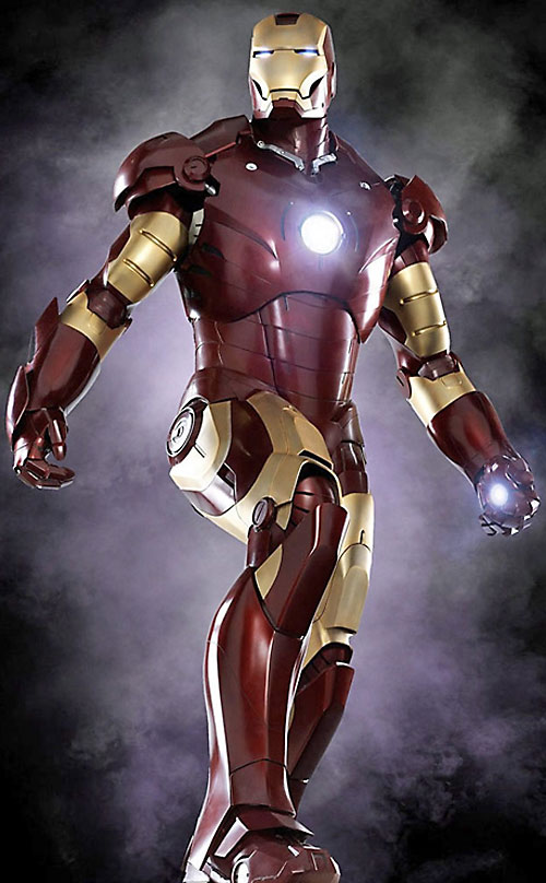 Iron Man (Robert Downey Jr. in the first Marvel movie) with glowing arc repulsors