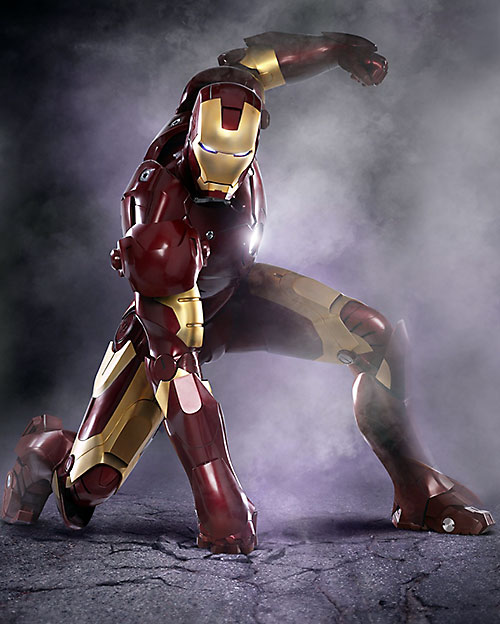 Iron Man (Robert Downey Jr. in the first Marvel movie) punching the ground