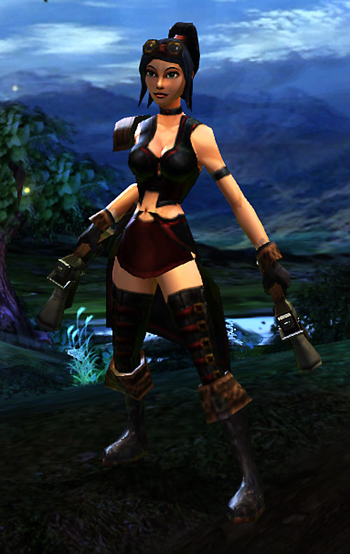 Vanquisher Torchlight video game - screenshot dark blue leather and goggles