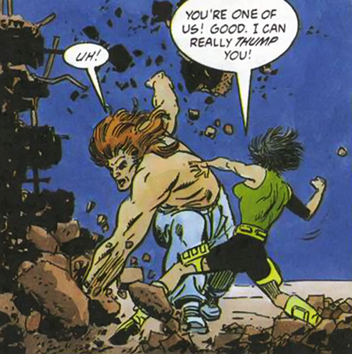 Torque of the Harbingers (Valiant Comics 1990s original) fighting a woman