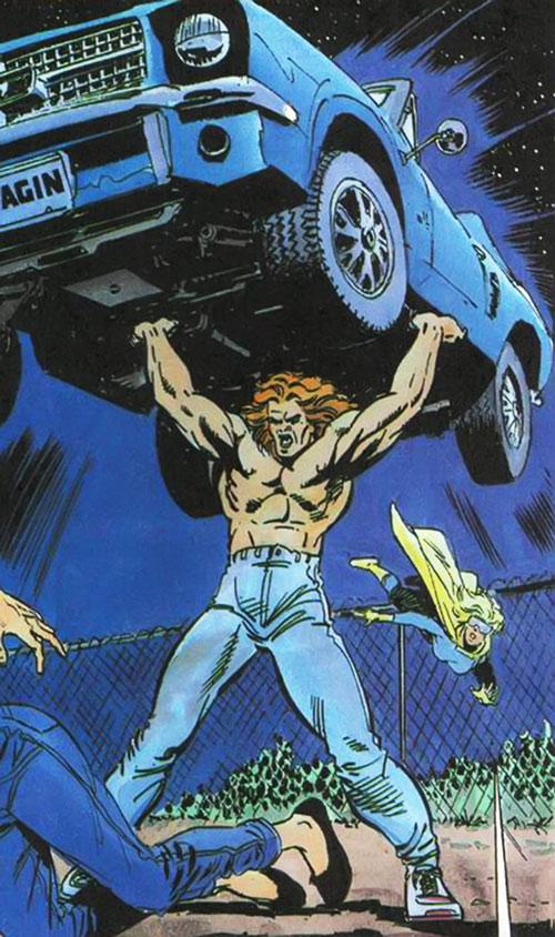 Torque of the Harbingers (Valiant Comics 1990s original) lifting a car