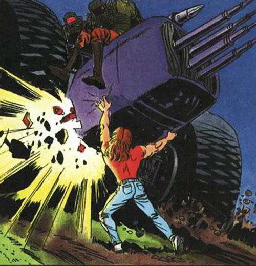 Torque of the Harbingers (Valiant Comics 1990s original) breaks an assault vehicle