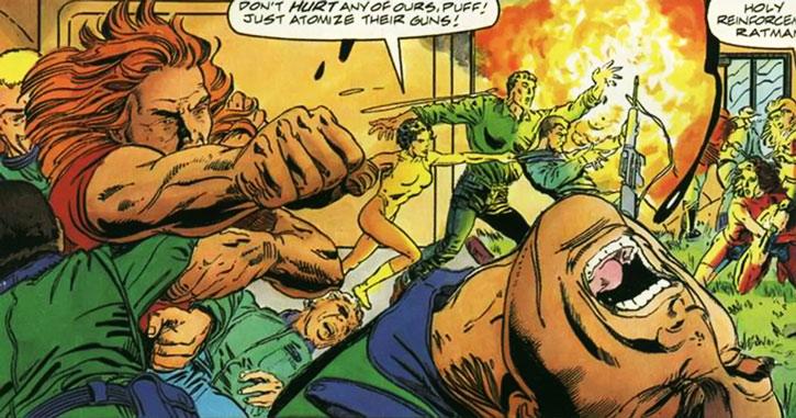 Torque of the Harbingers (Valiant Comics 1990s original) fighting soldiers