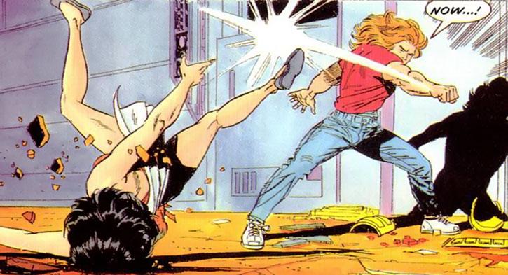 Torque of the Harbingers (Valiant Comics 1990s original) smashing a woman to the ground