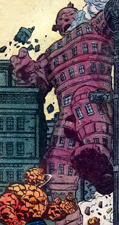 Hostess comic book advert with the Thing (Marvel) and a living building
