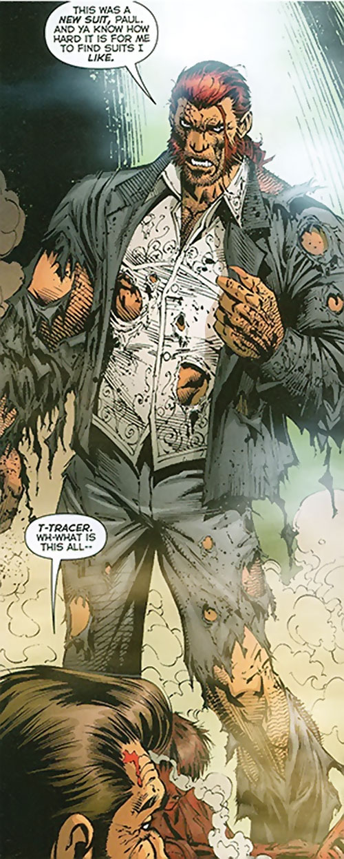 Tracer of the Extremists (DC Comics) with his suit and shirt ruined