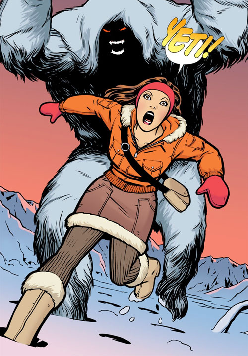 Traci 13 / Girl Thirteen (DC Comics) (Doctor 13 character) fleeing a yeti