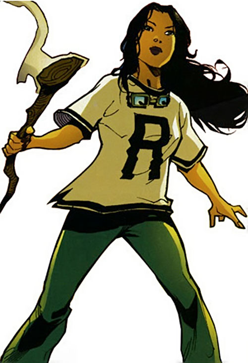 Traci 13 / Girl Thirteen (DC Comics) (Blue Beetle character) with a letter shirt and the Staff of Arion