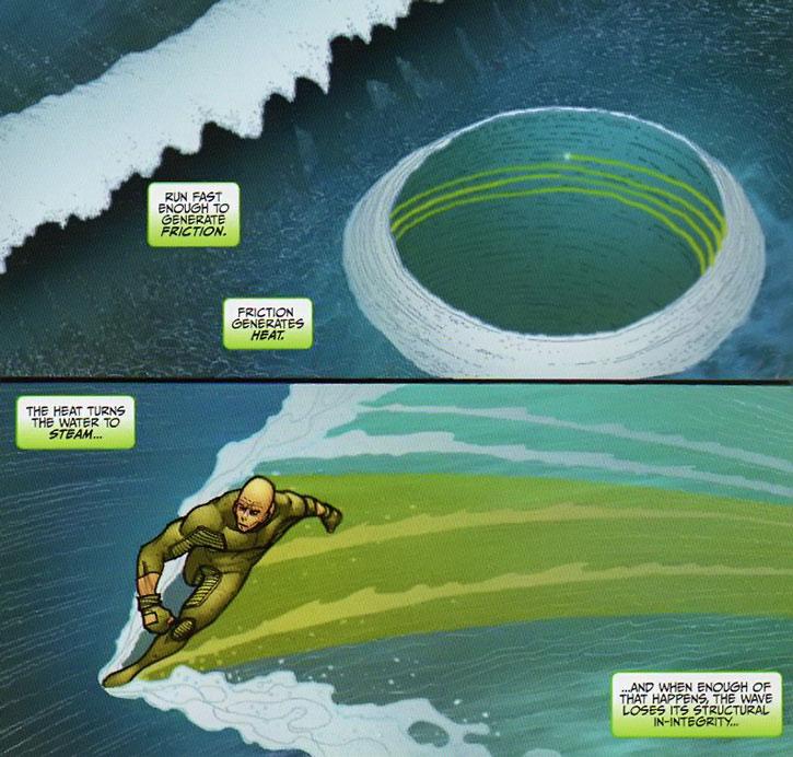 Transom breaks a tidal wave