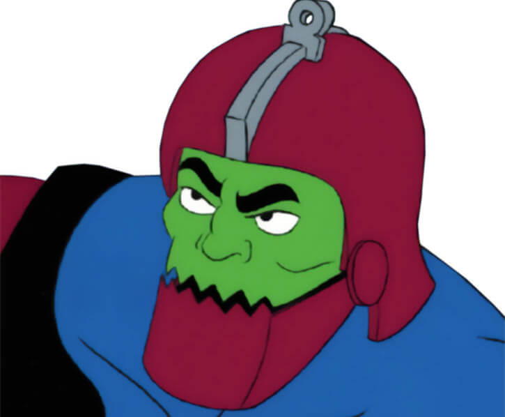 Trapjaw (Masters of the Universe 1980s cartoon) face closeup