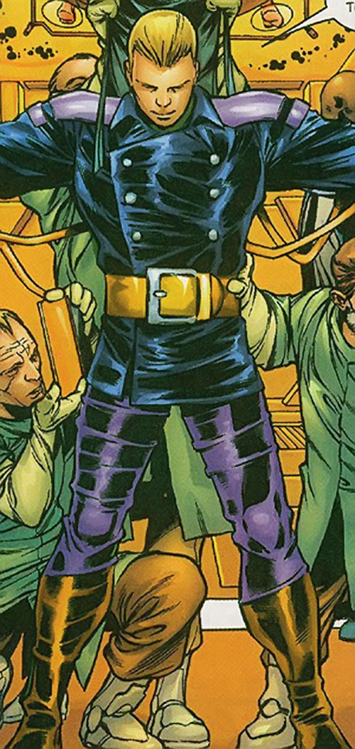 Trapster of the Frightful 4 (Marvel Comics) in the blue and purple costume