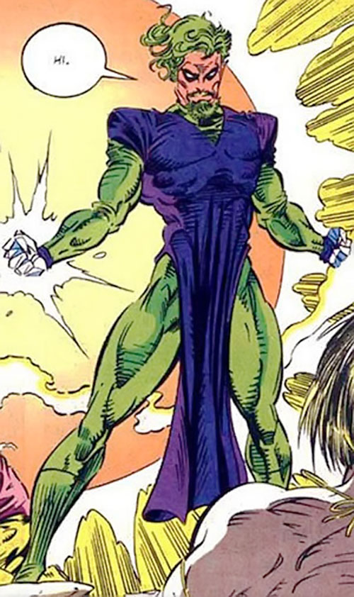 Trevor Fitzroy the Chronomancer (X-Men enemy) (Marvel Comics) in a green and purple costume