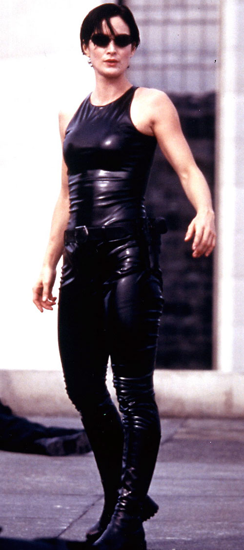 Trinity (Carrie-Anne Moss) during the rooftop scene
