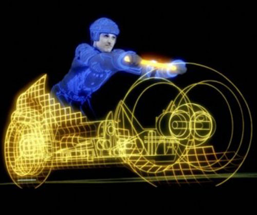Tron (Bruce Boxleitner) activating a lightcycle