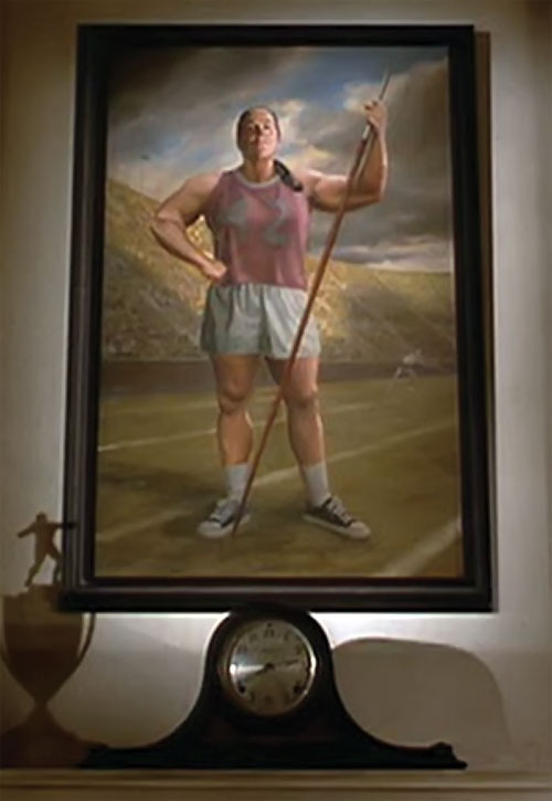 Trunchbull (Pam Ferris in Matilda) painting as a javelin thower