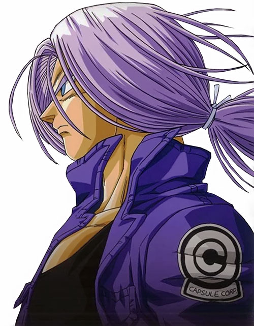 Trunks (Dragon Ball) (Androids future timeline) long violet hair and capsule jacket