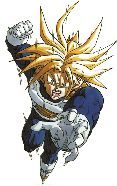 Trunks (Dragon Ball) (Androids future timeline) with blond hair leaps into the fray