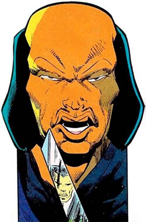 Tsunami (Butcher ally) (DC Comics) face closeup with tanto knife