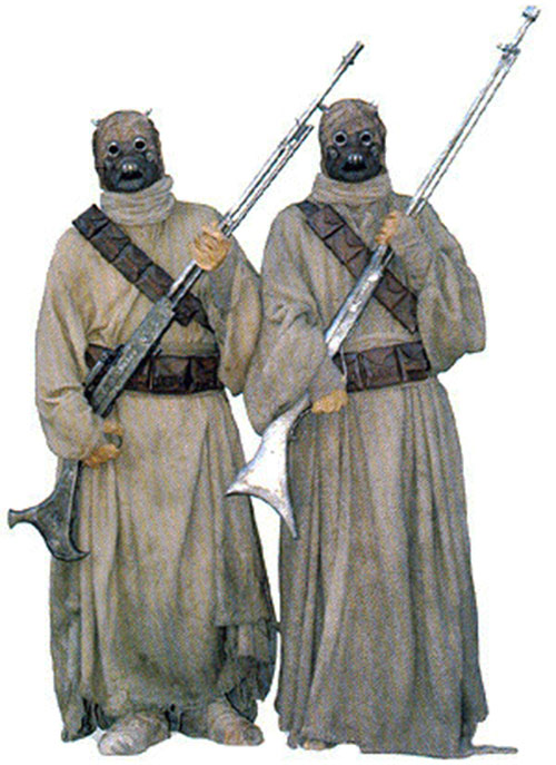 Two Tusken raiders with rifles