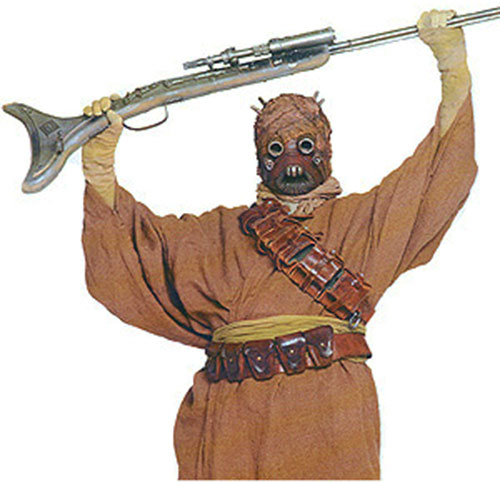 Tuskein raider brandishing a rifle (Star Wars)