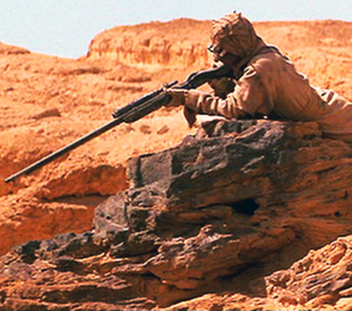 Tusken raider aiming a rifle (Tatooine)