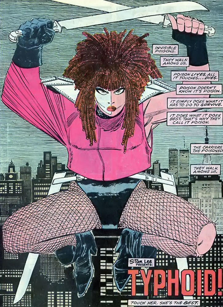 Typhoid Mary over a cityscape