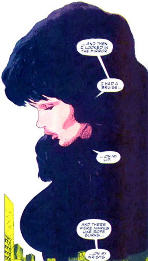 Typhoid (Daredevil character) (Marvel Comics by Nocenti) as Mary looking distraught